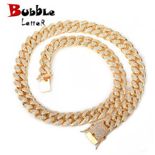 Cuban Necklace Jewelry Link Chain Zircon Copper-Material Iced Gold Silver 12mm Clasp