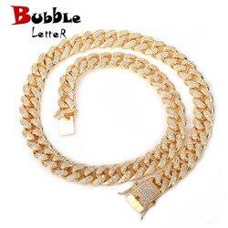 12mm Iced Zircon Cuban collar cadena Hip hop joyería oro plata cobre Material CZ cierre para hombres collar enlace 18-28 pulgadas