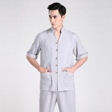 Envío gratis media manga juego de la espiga ropa tradicional china Kung Fu camisa cuello mao chino camisa de lino superior