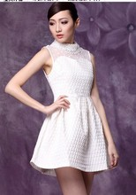 Free Shipping High Quality Sweet Western Style Polo Collar Sleeveless Beads Decorated Woman Formal Dress Black/White