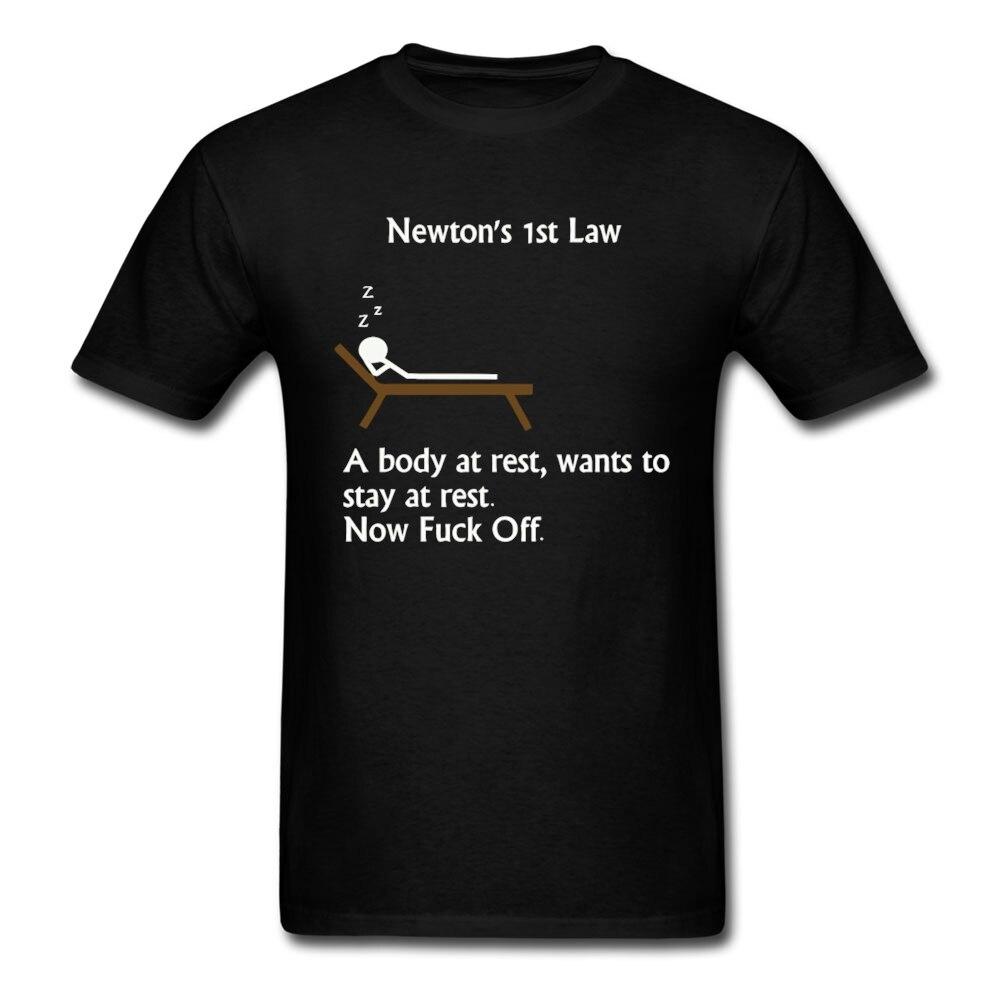 Casual Short Sleeve Pre cotton Funny font b physics b font joke about Newton Mens Print
