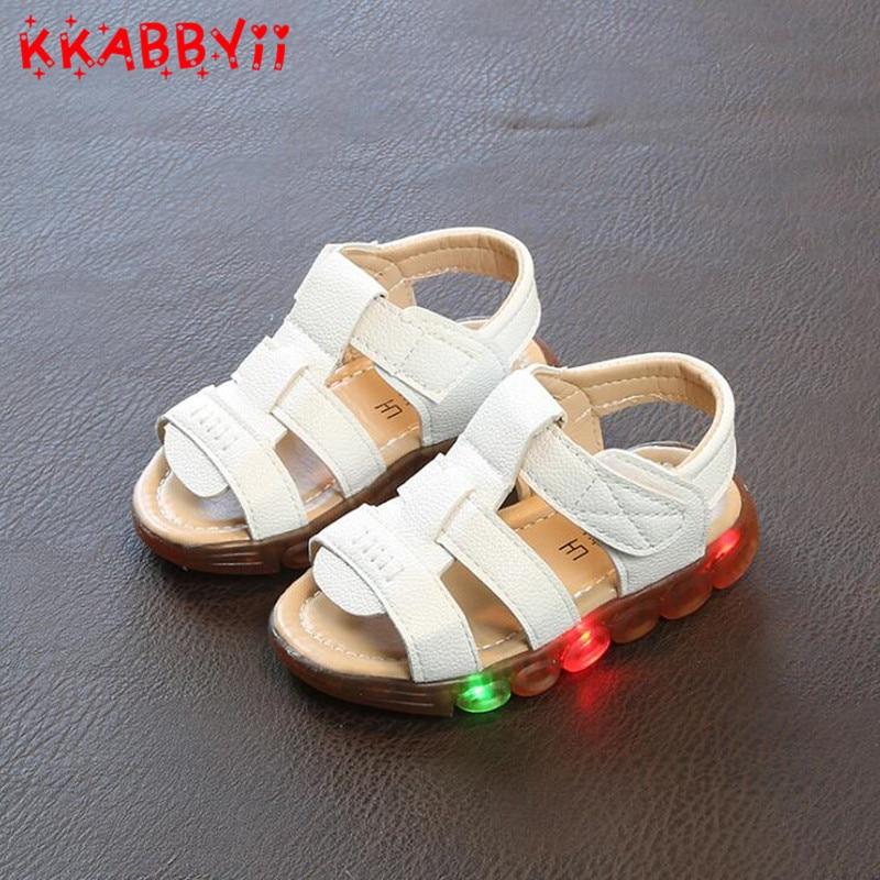 Brand Glowing Kids Sandals Shoes Boys Girls Flat Baby Led Luminous Lighting Sneakers Boys Beach Sandals EU 21-30