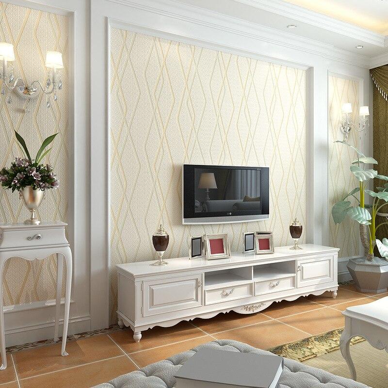 Beibehang moderne style minimaliste diamant rayé peau de daim cachemire papier peint 3D salon chambre TV fond d'écran