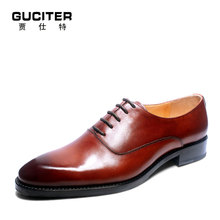 2017 new style man shoe GOODYEARS handmade Mens Oxford Shoes wedding party Dress 100% Genuine leather flat red brown