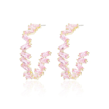 Brincos Marca New Design Charme Austríaco CZ Hoop Brincos Geométrica Rodada Brilhante Rosa/Verde Brinco jóias mulheres