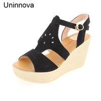Uninnova kadın Kama T-Kayışı Sandalet Siyah Şarap Kırmızı Yeşil Rahat Rahat Sandalet Extral Küçük Boyutu 32-43 WSA065