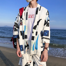 Printed Thin Style Open Stitch Kimono Jacket Men 2018 Summer Three Quater Sleeve