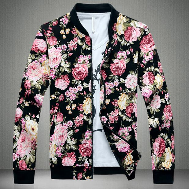 858f57f1ee793 US $30.27 8% OFF|Floral Jacket Men Flowers Print Cotton Twill Jackets 2019  New Stand Collar Floral Bomber Jackets Baseball Jacket-in Jackets from ...