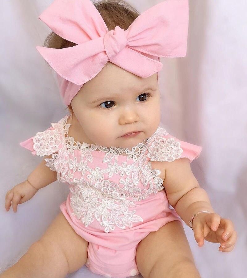 Zuigeling Kleding Roze Outfits Bodysuit Katoen Roze Kant Tie Ruches Jumpsuit Broek Meisje Party Verrassing Een Stuk + Hoofdband Verkwikkende Bloedcirculatie En Stoppen Van Pijn
