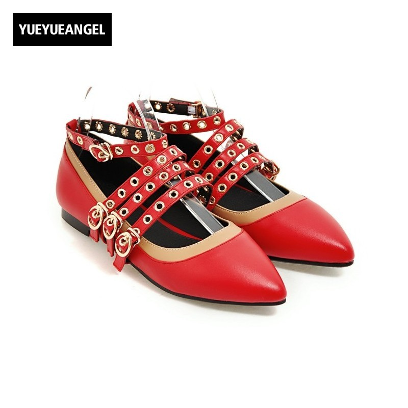 Pointed Toe Fashion 2018 Patent Leather Ankle Buckle Strap Womens Shoes Metal Decoration Hollow Out Streetwear Zapatos Mujer Red pu pointed toe flats with eyelet strap