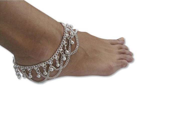 Fashion Women Hot Multi Chain Bells Tassel Anklet Ankle Bracelet Foot Jewelry Barefoot Beach Anklets Wholesale 12 Pcs