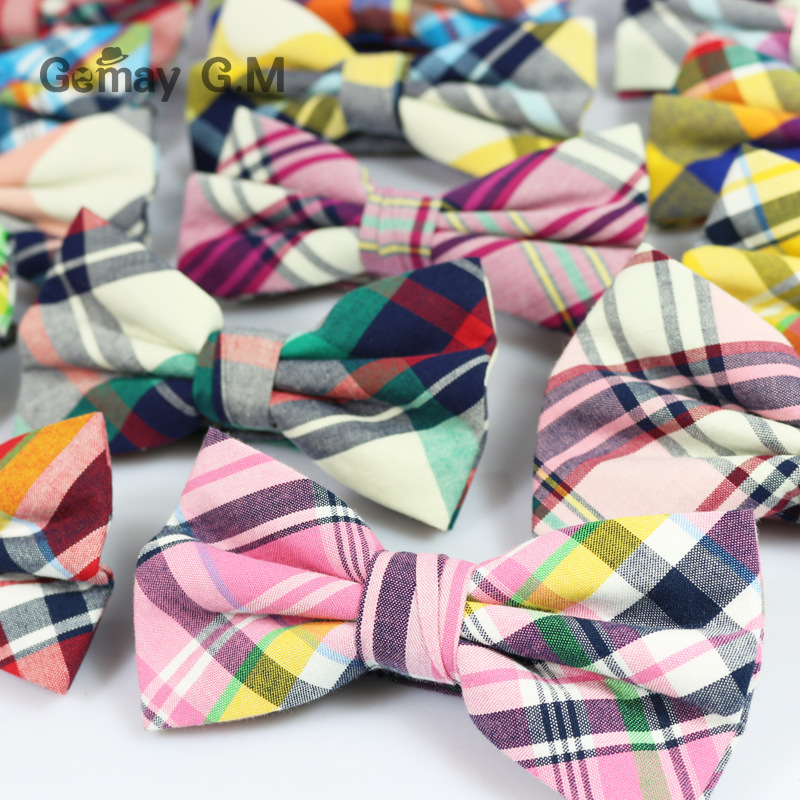 England Style Men Bow ties For Party Fashion Classic Cotton Plaid Pattern Men Bowtie Candy Color Casual Male Cravat