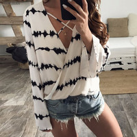 Free Shipping Hot Summer New 2017 Fashion Europe And America Cross Belt V Collar Chiffon Blouse