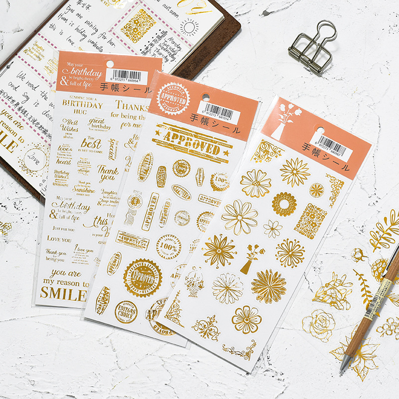 Creative Letter Postmark Greetings Decorative PET Golden Stickers Scrapbooking Stick Label Diary Stationery Album Stickers