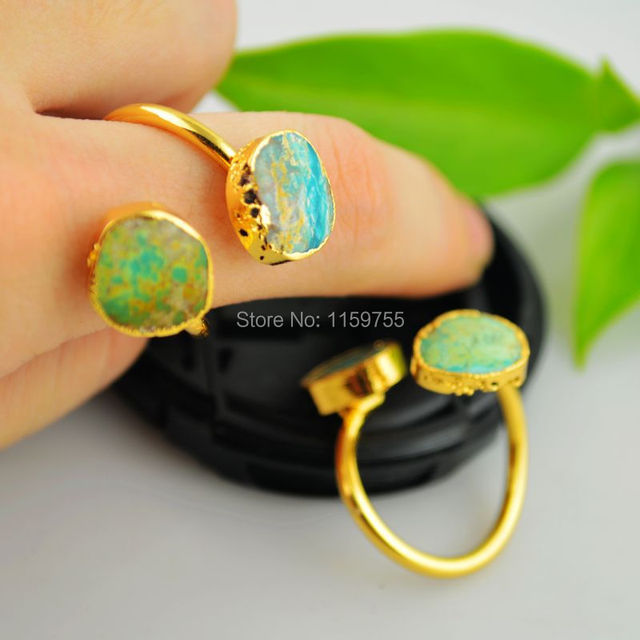 Fashion Natural Stones Wrap Ring Gold Color Genuine Stones Ring