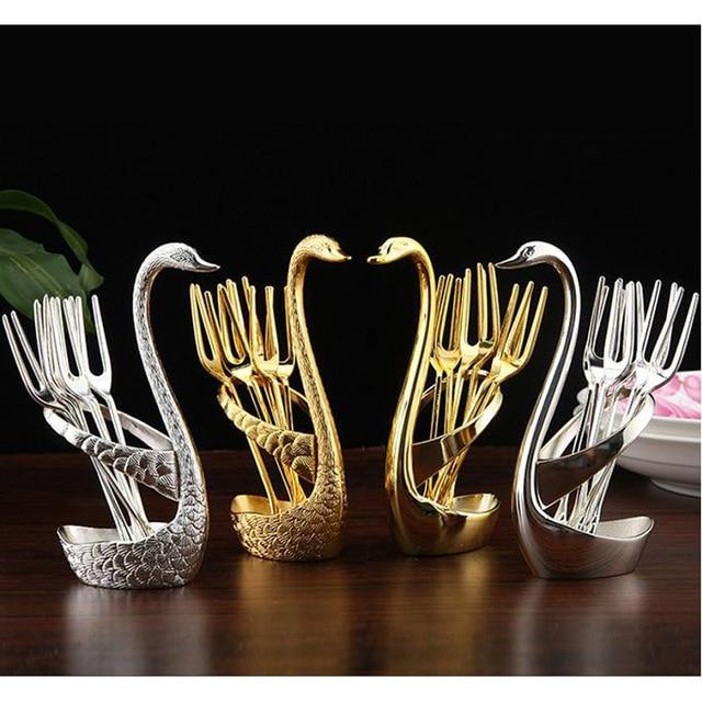 1 Set Gold Swan Fruit Fork Dessert Set Fashion Creative Suits Luxurious Gold Fruit Dessert Fork Cutlery Quality Wedding Gift