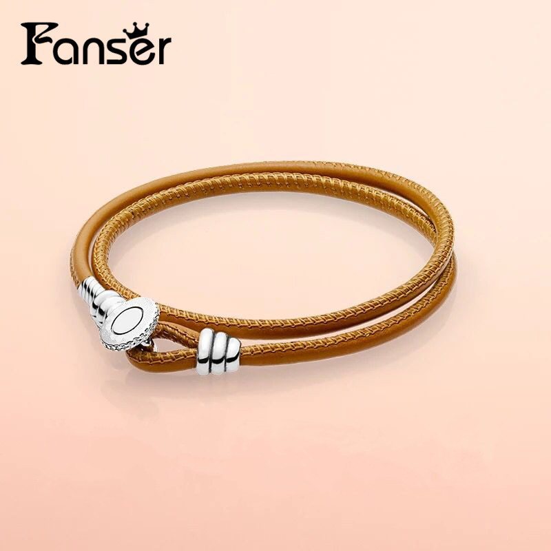 FANSER Summer NEW Multi-layer leather rope adjustable bracelet Hot missing you bracelet Original Copy Has Logo PANDORS Jewelry