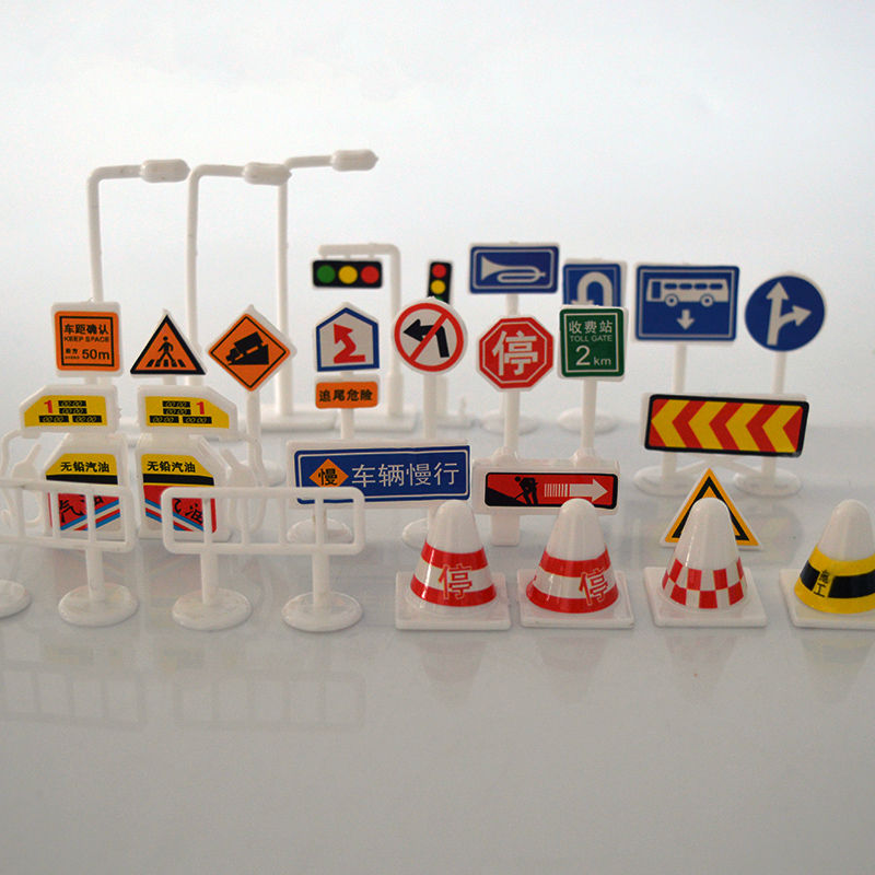 Childrens Educational Toys DIY Sand Table Model Scene Traffic Signs of Signs Road Traffic Signs 28PIC/lot Play House Prop ...