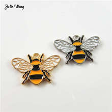Julie Wang 8pcs Enamel Bee Alloy Animal Pendant For Women Necklace Making Keychain Beads Bracelet Accessory Charms Handmade