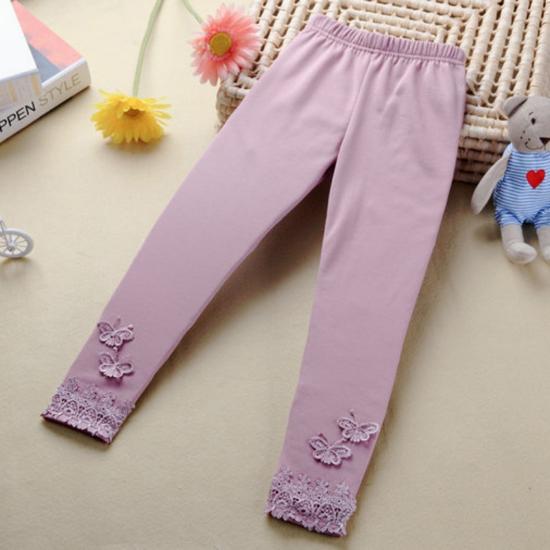 2018 HOT Kid Baby Butterfly Lace Warm Pants Girl Stretchy Trousers Toddler Tight брюки accelerate tight