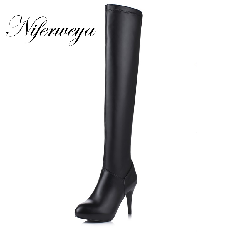 Bottes Hauts Over Pu Fermeture white Talons T601 Femmes 32 Grande À D'hiver Chaussures Black Mode Mujer Talon Éclair Zapatos Sexy Bout Pointu 45 the Mince Taille genou wq1ppU