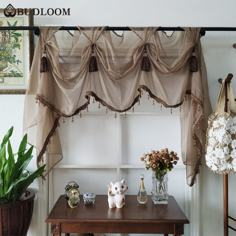 US $11.76 40% OFF|Budloom European style luxury tulle valance curtains for  living room green pink kitchen sheer valances curtains for living room-in  ...