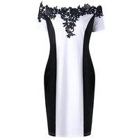 Plus Size Appliqued Off The Shoulder Pencil Dress