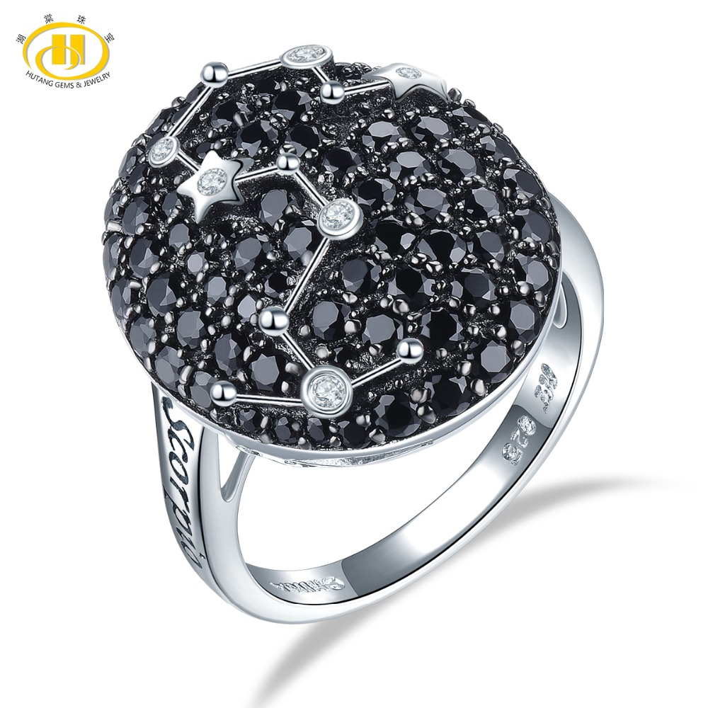 Hutang Scorpio Rings Natural Black Spinel 925 Silver Ring Fine Gemstone Jewelry Birthday Gift for Women
