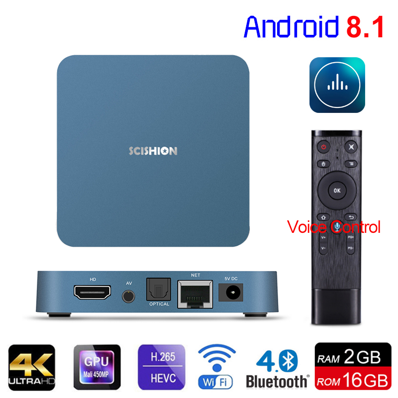 Android TV Box AI ONE Android 8.1 RK3328 Quad Core 2GB RAM 16GB ROM H.265 4K HDMI 2.0 2.4G Wifi USB 3.0 Set-Top Box Media Player jesurun cs968 quad core android 4 2 2 google tv player w 2gb ram 8gm rom 2mp cam rc11 air mouse