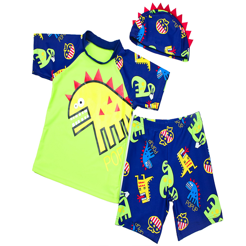 2018 BAOHULU New UPF50+ Anti-UV Protection Boy Cap+Top+Shorts Hat Pants Green Navy Dinosaur Cartoon Summer Short Sleeve SPF30+