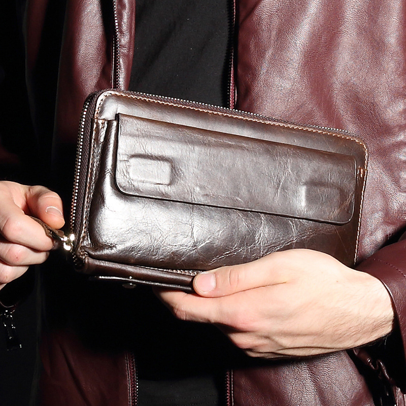 GOOG.YU New large-capacity men wallets business mens long wallet high-grade genuine leather bag multi-card holding hand bag