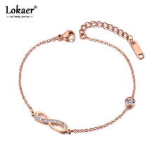 Lokaer Zomer Style Cz Crystal Oneindige Eternity Charm Armband Voor Vrouwen Rvs Link Chain Bohemen Strand B19027(China)