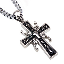 Crucified Jesus Cross with Carved Word Christian Pendant Necklaces Jewelry for Men Heavy Link Byzantine Chain classic english word carved heart pendant bracelet for women