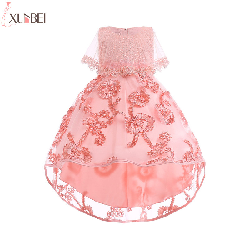 High-Low Lace   Flower     Girl     Dresses   2019 Pageant   Dresses   For   Girls   Kids Prom   Dresses   Communion   Dresses   vestidos infantil de festa
