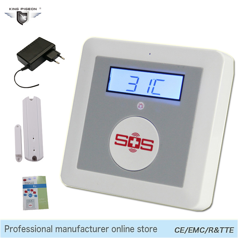 Smart Alarm Wireless Android IOS APP Remote Control GSM SMS Alarm System Home Security Elderly Helper SOS Button Door Sensor K3 inbraakalarm sos paniekknop lcd scherm sms panel ios android temperatuurregelaar gsm alarmsysteem k3b