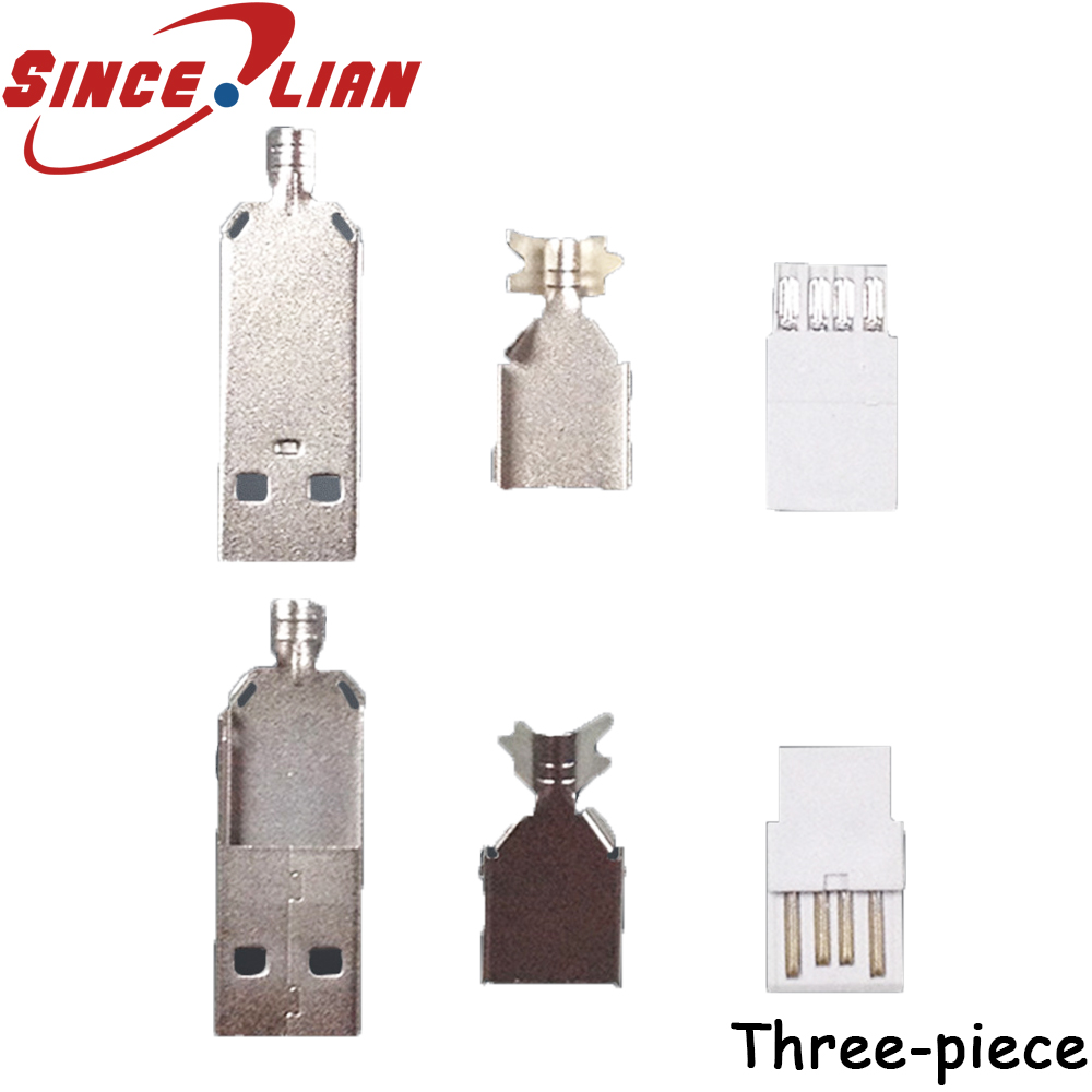 USB plug A male three piece A male plug iron shell plating 24H copper end plating
