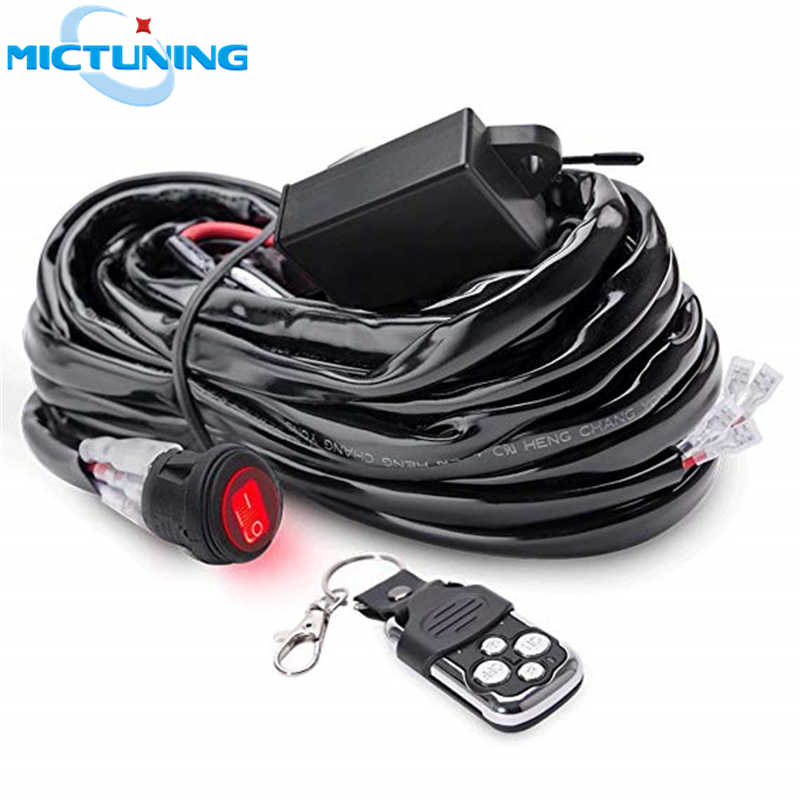 MICTUNING Car LED Work Light Bar Wiring Harness 40Amp Relay Fuse ON-OFF-Strobe on