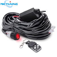 MICTUNING Car LED Work Light Bar Wiring Harness 40Amp Relay Fuse ON OFF Strobe Red Waterproof Switch 2 Leads with Remote Control
