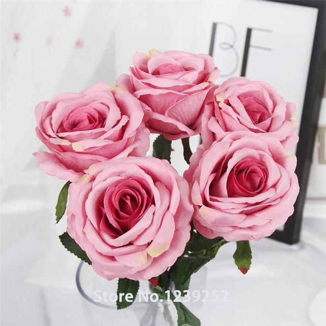 New 5Pcs/lot Big Artificial Rose Flower Bouquet Decorative Flowers ...
