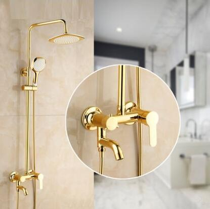 2 Style rainfall shower faucet set mixer, Bathroom wall mounted bath shower water tap, Brass shower faucet shower head gold chrome polished rainfall solid brass shower bath thermostatic shower faucet set mixer tap with double hand sprayer wall mounted