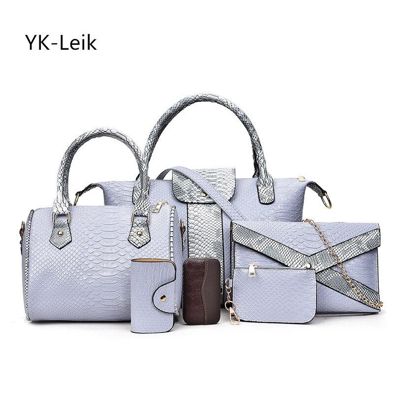 YK Leik 6pcs/set 2017 famous brand women handbags luxury crocodile chain shoulder bag composite bags women leather handbag