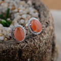 925 Sterling Silver Earrings Natural Southern Red Agate Women Round earings S925 Silver boucle d'oreille Stud Earring