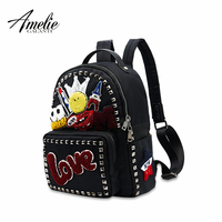 AMELIE GALANTI Women's Backpack Cartoon Appliques Comfortable Rivet PU Leather Fashion Women Backpack Lovely Female Backpacks