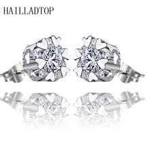 64 Faces Crystal Simple Silver Plated Stud Earrings Luxury Charm Jewelry Snowflake Crystal Stud Earrings  Xmas Gift