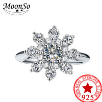2018 New Design Real 925 Sterling Silver Snowflake Promise Ring For Girl Love Engagement Wedding Jewelry