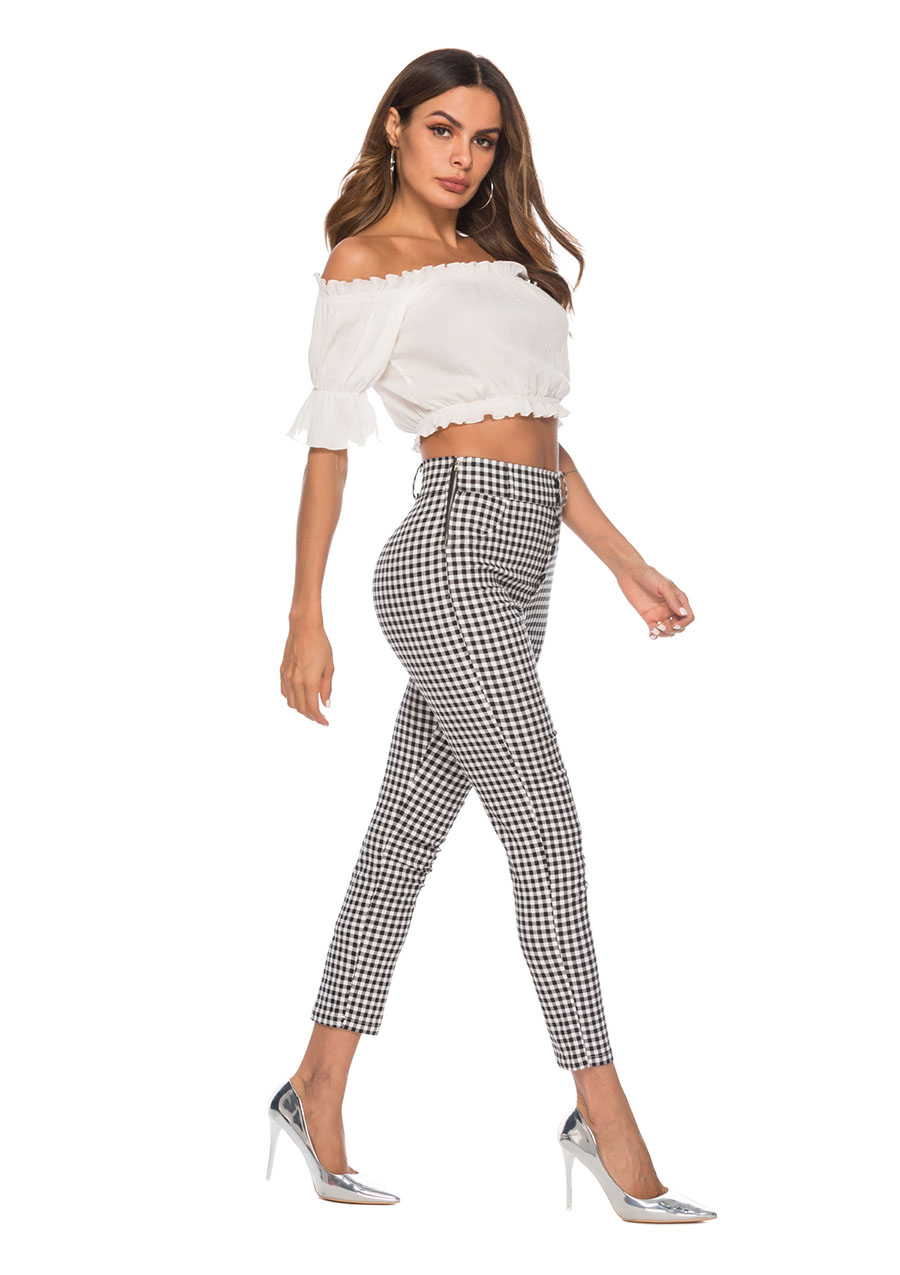 HTB1e.UFadfvK1RjSspfq6zzXFXaC - Benuynffy Vintage Button High Waist Plaid Pants Summer Office Lady Workwear Trousers Women Elegant Side Zipper Pencil Pants
