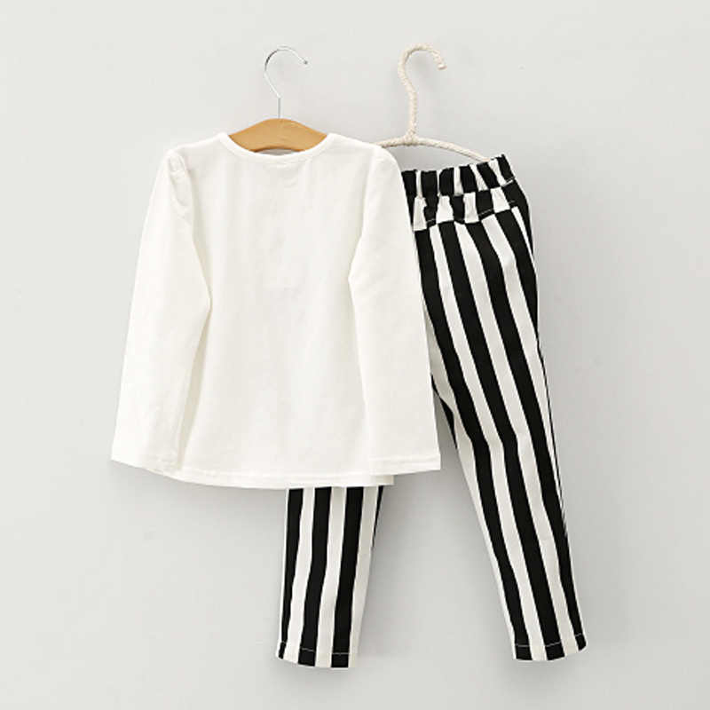 baby girl clothes Autumn girls clothes Children Spring Long Sleeve Bowknot Outfits Baby Shirt+Stripe Pants 2pcs Set kids clothes