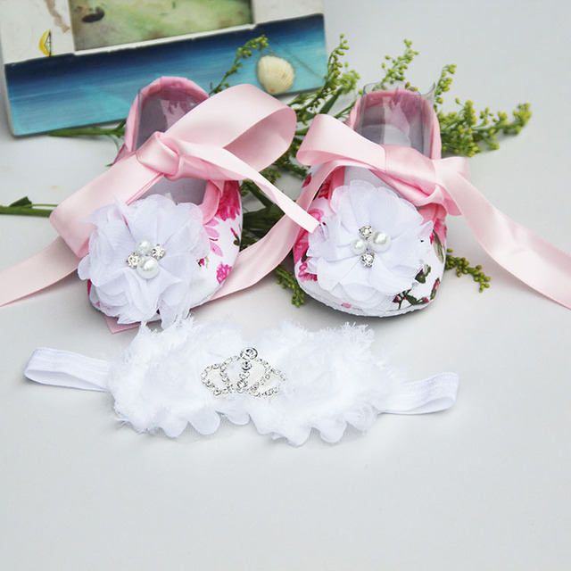 bf3a0ffa4767 Rhinestone Newborn Baby Shoes Branded Toddler Baby Girl Shoes Ivory Flower  Baby Moccasins Infant Baptism Shoe