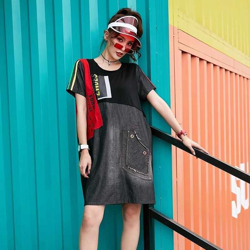 Max LuLu Модный корейский бренд Женская летняя джинсовая одежда женские негабаритные Печатные Мини платья с коротким рукавом в стиле пэчворк Vestidos
