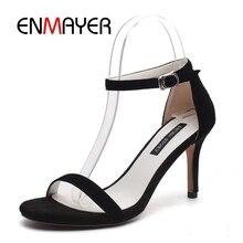 ENMAYER Women High heels Sandals Big Size 34-40 Summer Causal Shoes Footwear Kid Suede Open toe Thin Buckle CR438